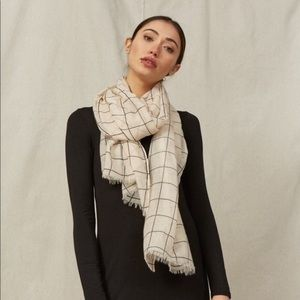 Rachel Pally Cream Summer Grid Scarf/Wrap Plaid